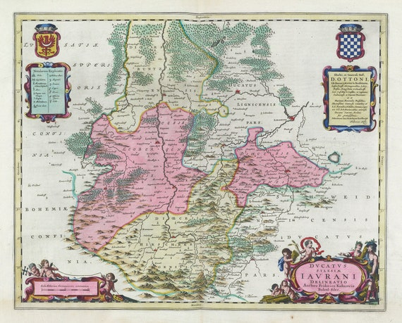 Poland: Poloniae, Dvcatvs Silesiae Iavrani Delineatio, 1665, Bleau auth. , map on heavy cotton canvas, 50 x 70 cm