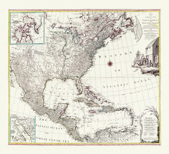 """A new and correct map of North America with the West India Islands, Divided according to the last Treaty of Peace, 1783, canvas 22x27"""""""