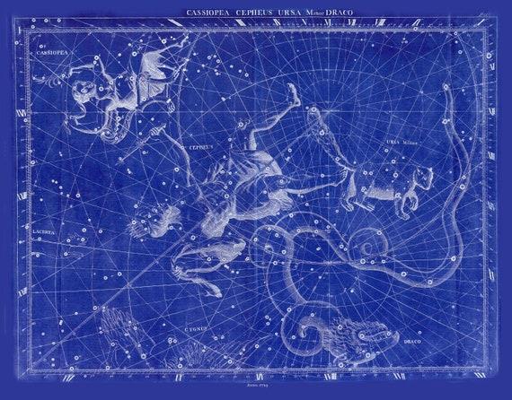 "E Cassiopea, Cephus, Ursa Minor, Draco, 1729, Flamsteed auth. Cyanotype, celestial map on heavy cotton canvas, 50 x 70cm, 20 x 25"" approx."