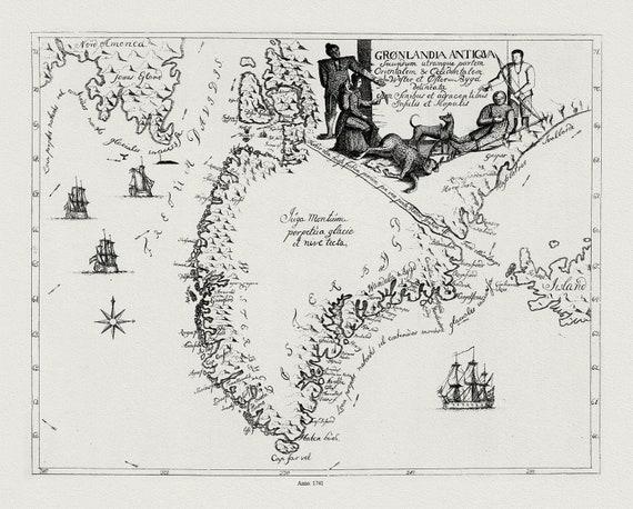 "Gronlandia Antiqua Secundum utramque partem Orientalem & Occidentalem, 1741, map on heavy cotton canvas, 50 x 70cm, 20 x 25"" approx."