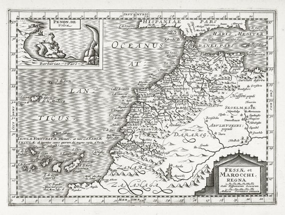 "Africa: Fessae et Marocchi, regna. 1636. Mercator et al. auth., map on heavy cotton canvas, 50 x 70 cm (20x25"") approx."