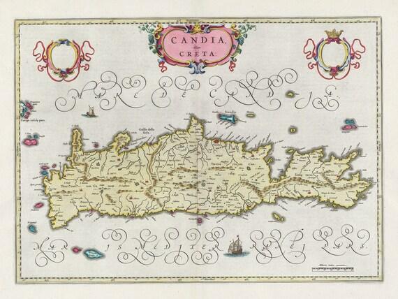 Mediterranean, Graecia, Candia olim Creta,1665, Bleau auth.