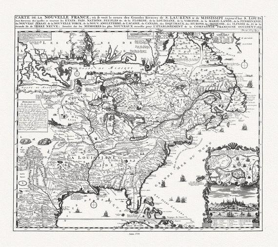 """Carte de la Nouvelle France, ou se voit le cours des grandes rivieres de S. Laurens & de Mississipi, 1719, on heavy cotton canvas, 22x27"""""""