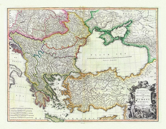 """Turkey In Europe, 1795, William Faden auth., map on heavy cotton canvas, 20 x 25"""" approx."""