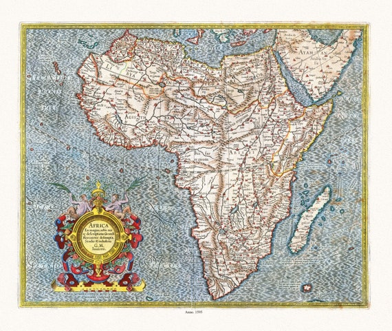 """Mercator, Africa, 1595, map on heavy cotton canvas, 22x27"""" approx."""