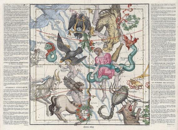 "Celestial, Plate V, 1693, Pardies auth., celestial map on heavy cotton canvas, 50 x 70cm, 20 x 25"" approx."