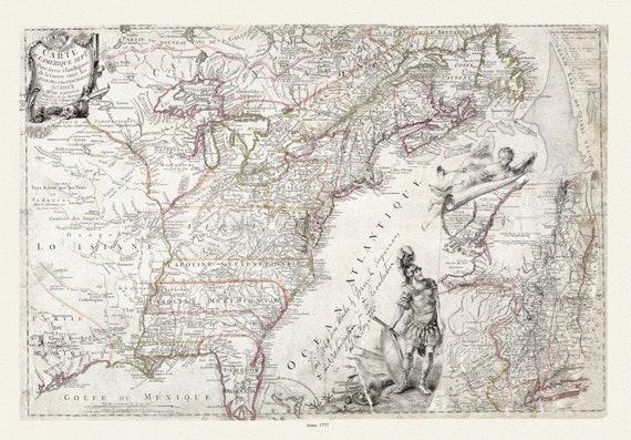 Beaurain et Sartine, Carte de l'Amérique Septle pour servir à l'intelligence de la guerre entre les Anglois et les insurgents, 1777, canvas