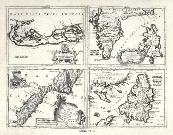 """Islands in the Atlantic Ocean, 1740, Seutter auth., map on heavy cotton canvas, 50 x 70cm, 20 x 25"""" approx."""