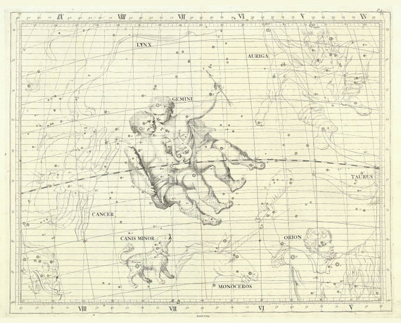 """Gemini, 1729, Flamsteed auth., celestial map on heavy cotton canvas, 50 x 70cm, 20 x 25"""" approx."""