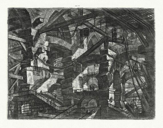 """Giovanni Battista Piranesi, Le Carceri d'Invenzione (Les prisons de l'invention), Planche VII, 1760, on heavy cotton canvas, 22x27"""" approx."""