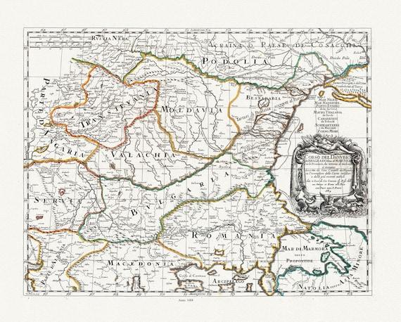 Danube: Corso del Danubio da Belgrado fino al Mar Nero, 1684, Rossi auth, map on heavy cotton canvas, 50x70cm