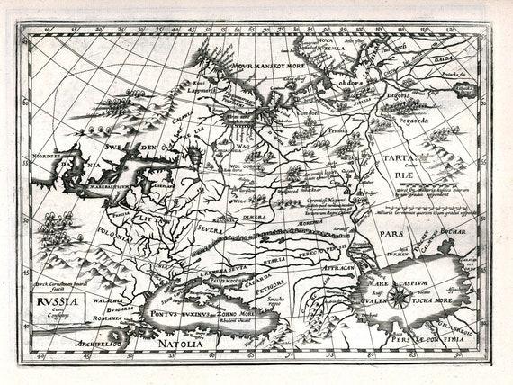 """Russia cum Confinijs. 1636. Mercator et al. auth., map on heavy cotton canvas, 50x70cm (20 x 25"""") approx."""