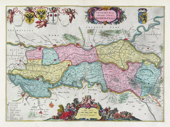 Low Countries, Tetrarchia Ducatus Gelriae Neomagensis 1665, Blaeu auth., map on heavy cotton canvas, 50 x 70 cm