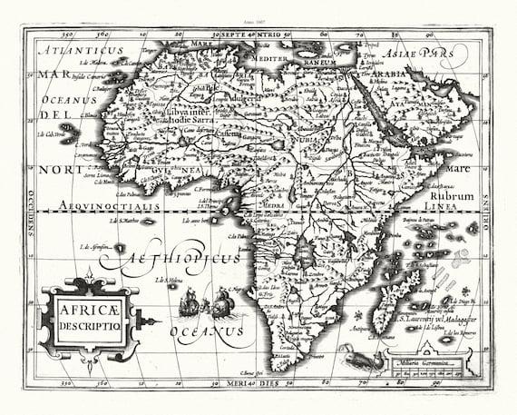 "Mercator et Hondius, Africa Descriptio, 1607, map on heavy cotton canvas, 22x27"" approx."