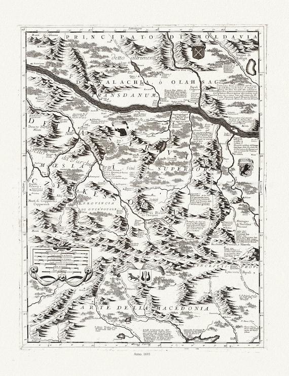 """Danube: Coronelli (Vicenzo 1650-1718), Corso del Danubio (Planche 3 de 6), 1693, map on heavy cotton canvas, 22x27"""" approx."""