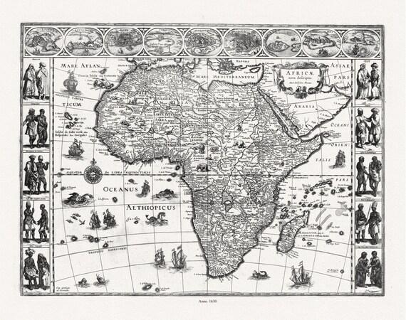 "Blaeu, (Willem Janszoon, 1571-1638), Africae nova descriptio, 1630, map on heavy cotton canvas, 22x27"" approx."