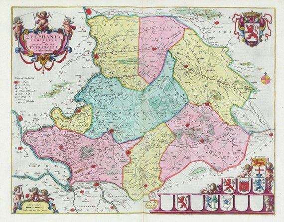 Low Countries, Zvtphania Comitatvs 1665, Blaeu auth., map on heavy cotton canvas, 50 x 70 cm