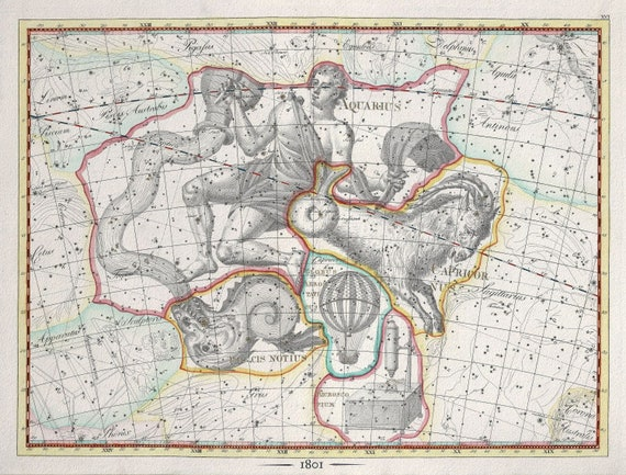 """Celestial XXV, 1801, Bode auth. , map on heavy cotton canvas, 50 x 70cm, 20 x 25"""" approx."""