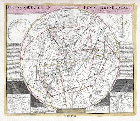 "Motus Cometarum in Hemisphaerio Boreali,1742,Doppelmayr auth., celestial map on heavy cotton canvas, 50 x 70cm, 20 x 25"" approx."