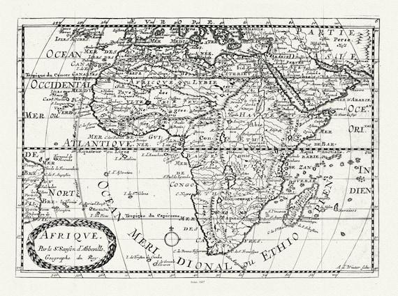 """Sanson et du Sauzet,  Afrique, 1734, map on heavy cotton canvas, 22x27"""" approx."""