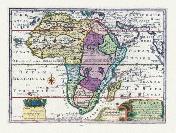 "Fer,  L'Afrique, 1717, map on heavy cotton canvas, 22x27"" approx."