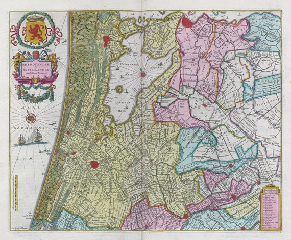 Low Countries, Rhenolandiae et Amstellandiae... Tabula 1665, Blaeu auth., map on heavy cotton canvas, 50 x 70 cm