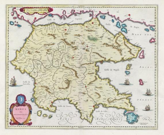 Mediterranean, Graecia, Morea olim Peloponnesus,1665, Bleau auth., map on heavy cotton canvas, 50 x 70 cm