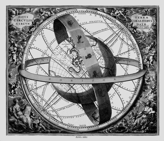 "Cellarius, Harmoni Macrocosmica XI, 1660 Ver.III , map on heavy cotton canvas, 50 x 70cm, 20 x 25"" approx."