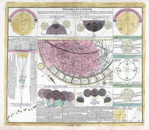 "Theoria Eclipsium, 1742, Doppelmayr auth., celestial map on heavy cotton canvas, 50 x 70cm, 20 x 25"" approx."