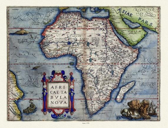 "Abraham Ortelius-Theatrum Orbis Terrarum, Africa, Anno. 1570 Ver. III, map on heavy cotton canvas, 22x27"" approx."