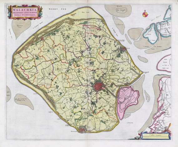 Low Countries, Walachria, 1665, Blaeu auth., map on heavy cotton canvas, 50 x 70 cm