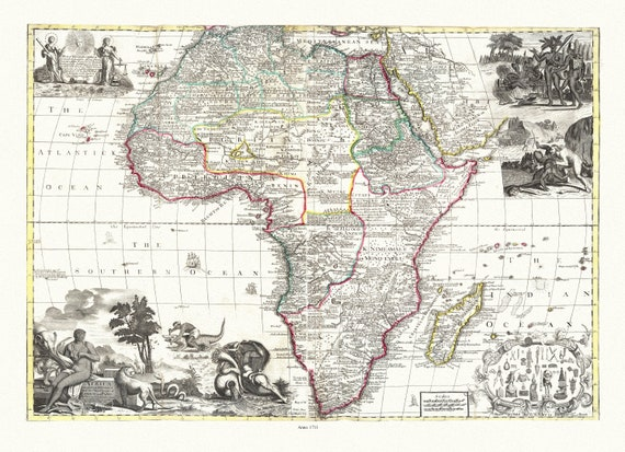 """Willdey, Africa, 1711, map on heavy cotton canvas, 22x27"""" approx."""