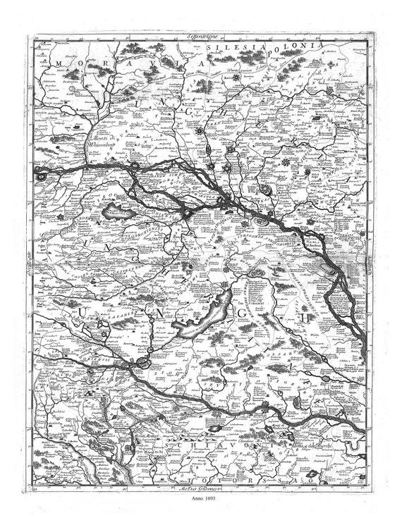 """Danube: Coronelli (Vicenzo 1650-1718)-Corso del Danubio (Planche 4 def 6), 1693, map on heavy cotton canvas, 22x27"""" approx."""