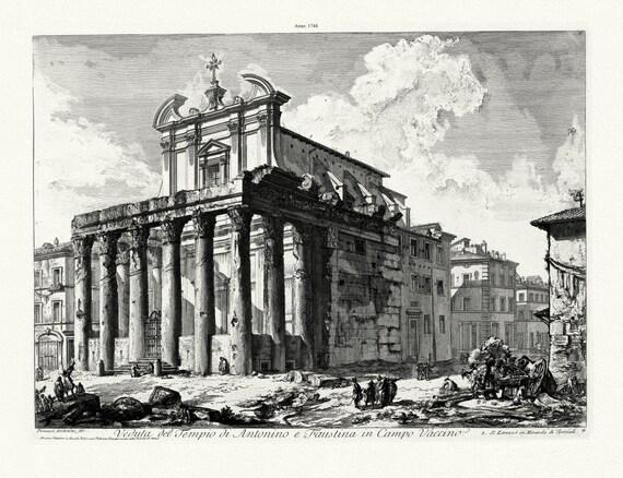 """Giovanni Battista Piranesi, Veduta del Tempio di Antonino e Faustina in Camo Vaccino, 1748 , etching, cotton canvas, 20 x 25"""" approx."""