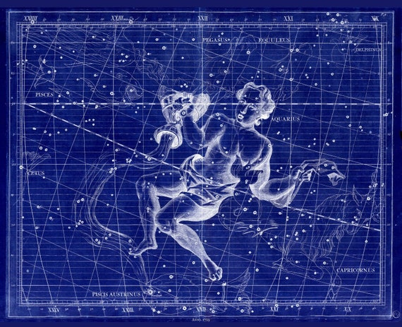 """Aquarius,1729, Flamsteed auth. Cyanotype , celestial map on heavy cotton canvas, 50 x 70cm, 20 x 25"""" approx."""