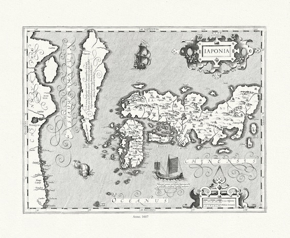 """Japan:  laponia, 1607, map on heavy cotton canvas, 50x70cm (20 x 25"""") approx."""