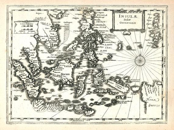 "Asia: Insulae Indiae Orientalis. 1636. Mercator et al. auth., map on heavy cotton canvas, 50 x 70 cm (20x25"") approx."
