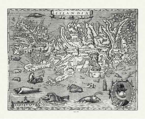 "Iceland: Gerardum Mercator et Hondius, Islandia, 1623, map on heavy cotton canvas, 50 x 70cm, 20 x 25"" approx."