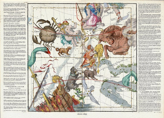 """Celestial Plate III, 1693, Pardies auth., celestial map on heavy cotton canvas, 50 x 70cm, 20 x 25"""" approx."""