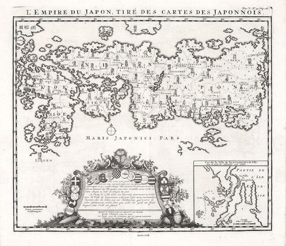 """Japan: L'Empire du Japon, Tire des Cartes des Japonnois, 1718, map on heavy cotton canvas, 50x70cm (20 x 25"""") approx."""