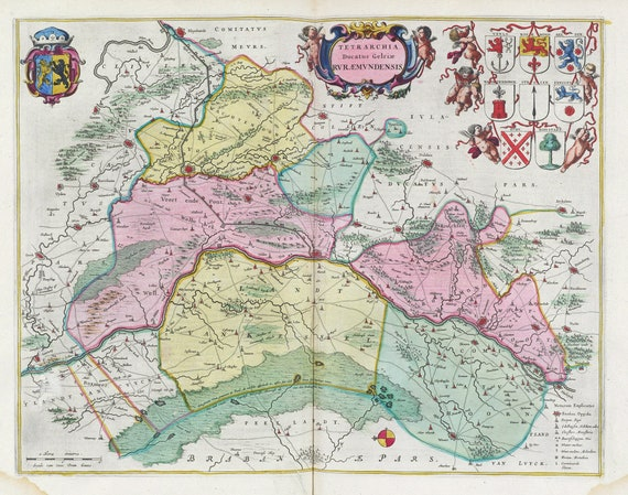 Low Countries, Tetrarchia Ducatus Gelriae Rvraemvndensis,1665, Blaeu auth., map on heavy cotton canvas, 50 x 70 cm