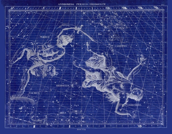 """Andromeda, Perseus, Triangulum, 1729 ,Flamsteed auth. Cyanotype, celestial map on heavy cotton canvas, 50 x 70cm, 20 x 25"""" approx."""