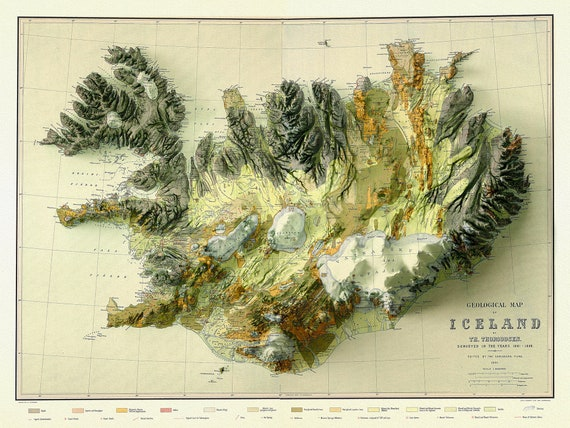 """A Geological Map of Iceland, In High Relief  , map on heavy cotton canvas, 20 x 27"""" approx."""