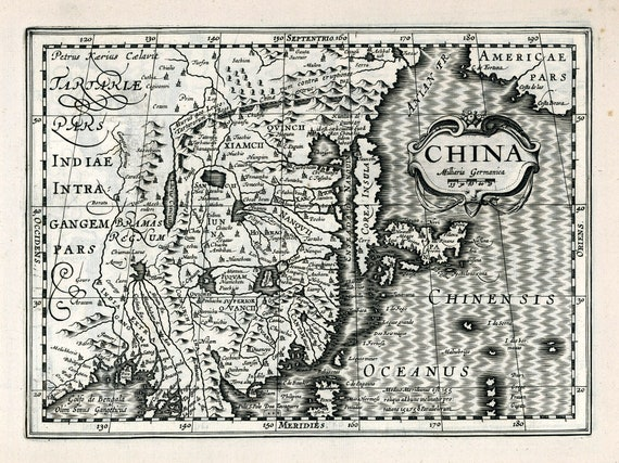 """China. 1636. Mercator et al. auth., map on heavy cotton canvas, 50 x 70 cm (20x25"""") approx."""