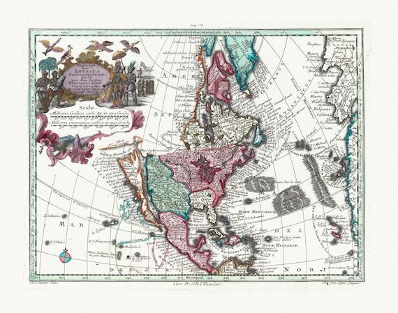 "Blaeu et Weyermann, Novus Orbis Sive America Meridionalis Et Septentrionalis, 1744, map on heavy cotton canvas, 22x27"" approx."