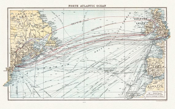 """A Chart of the North Atlantic, 1907, map on heavy cotton canvas, 50 x 70cm, 20 x 25"""" approx."""
