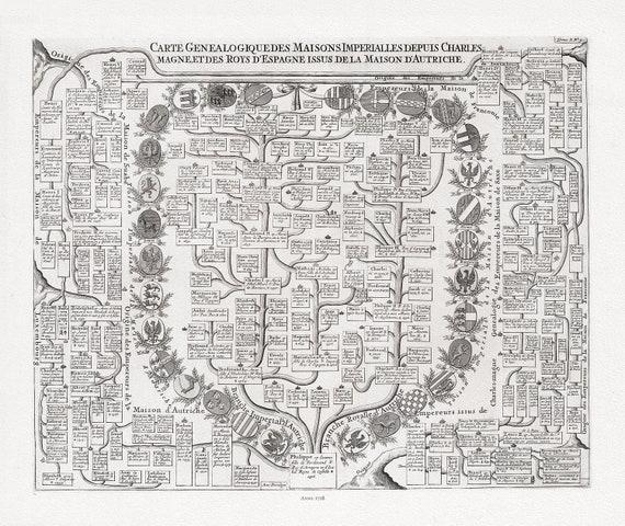 """Genealogy: Carte Genealogique Des Maisons Imperialles Depuis Charles-Magne, 1718, chart on heavy cotton canvas, 22x27"""" approx."""