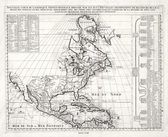 """Henri Chatelain-Tome I. No. F. Nouvelle carte de l'Amerique Septentrionale, 1718, map on heavy cotton canvas, 22x27"""" approx."""
