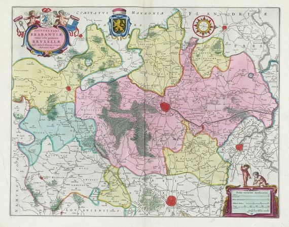 Low Countries, Secvnda Pars Brabantiae, 1665, Blaeu auth., map on heavy cotton canvas, 50 x 70 cm