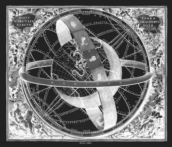 "Cellarius, Harmoni Macrocosmica XI, 1660 Ver. III, map on heavy cotton canvas, 50 x 70cm, 20 x 25"" approx."